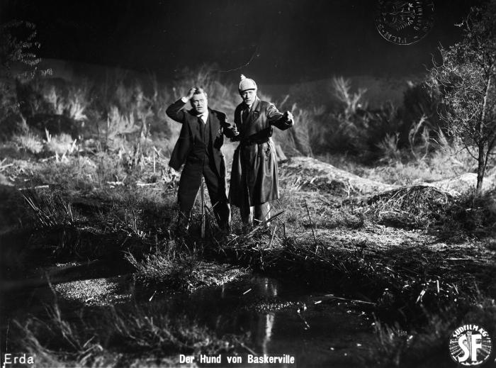 "Kadr z filmu ""Pies Baskerville'ów"" (1929)   reż. Richard Oswald"
